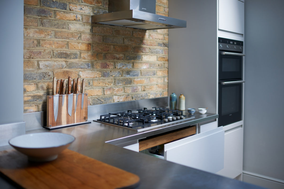 Kitchen designed with reclaimed London Stock Wall