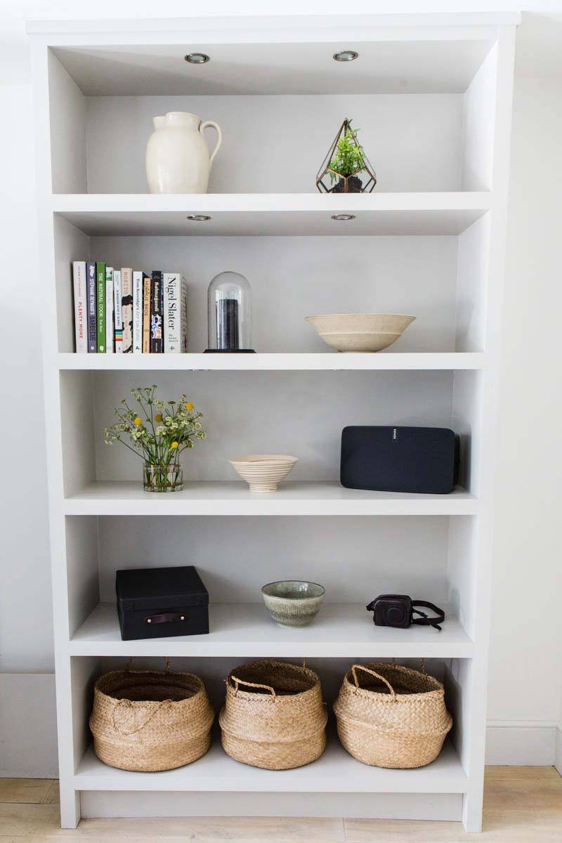 Bespoke shelving designed to optimise space in kitchen/dining area